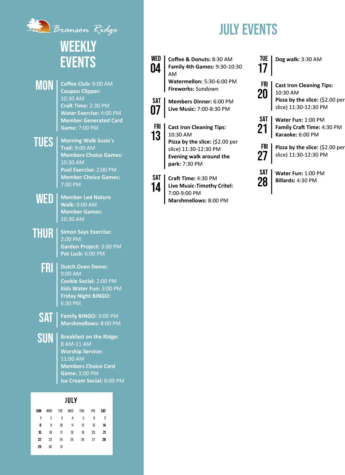 Branson Ridge Activity Calendar July 2018
