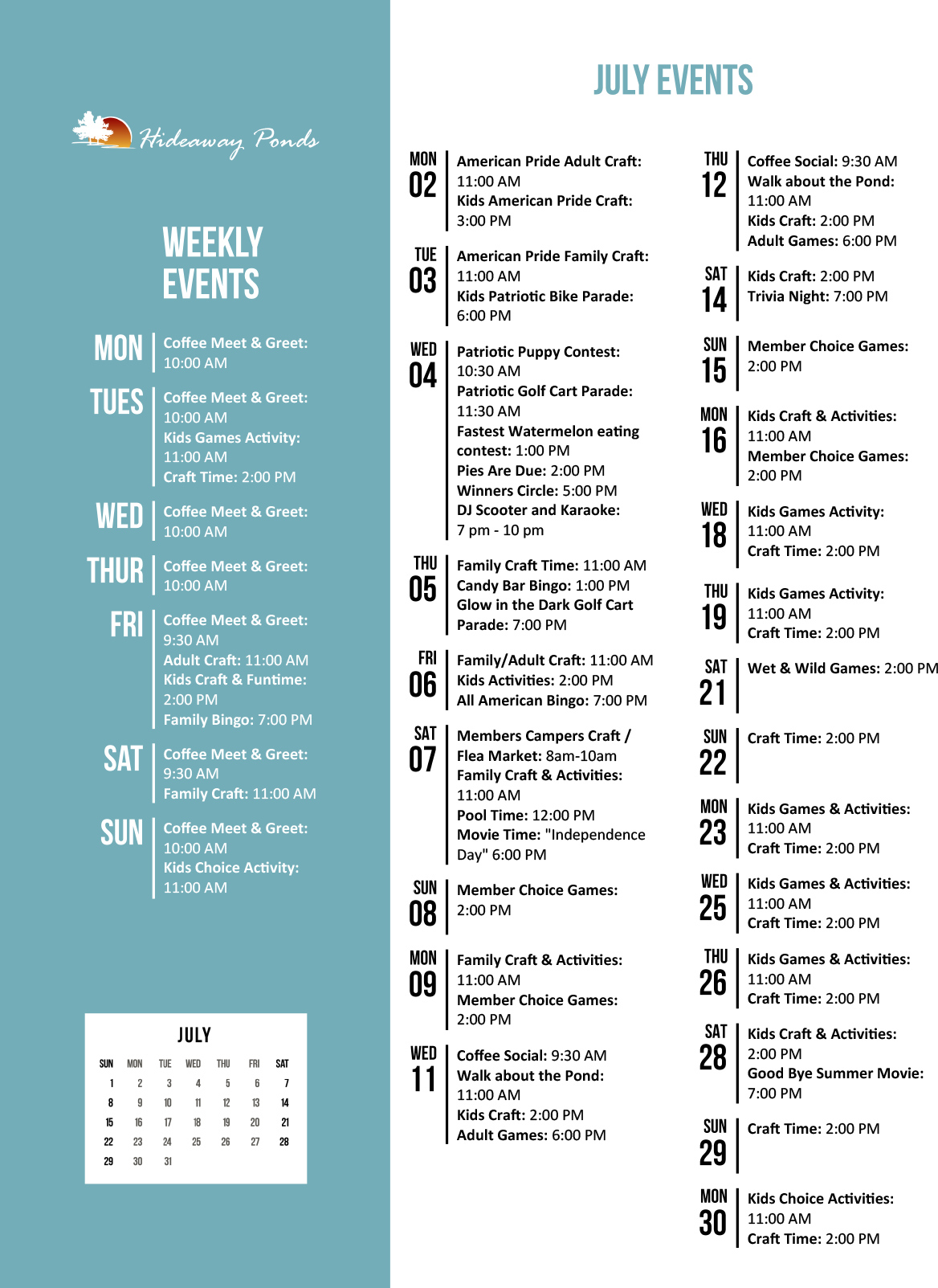 Hideaway Ponds Activity Calendar July 2018
