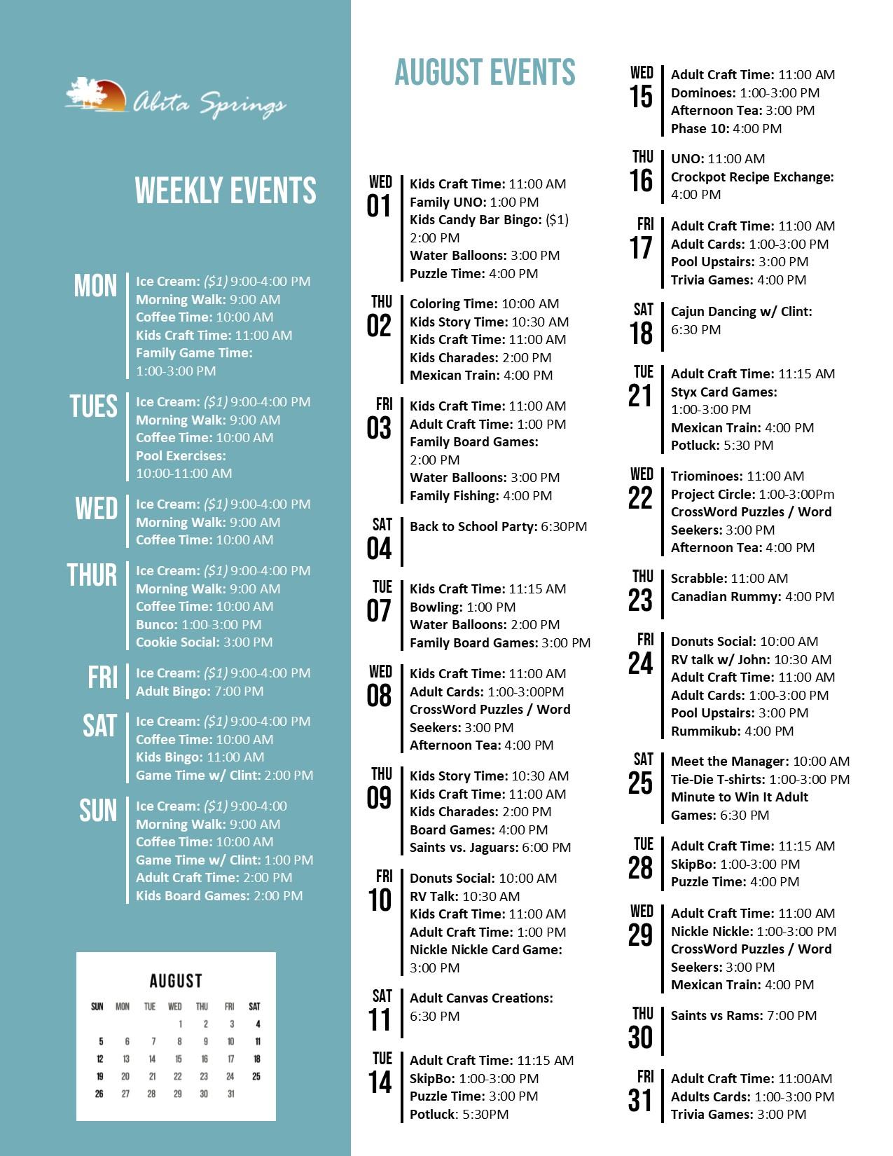 Abita Springs Activity Calendar August 2018