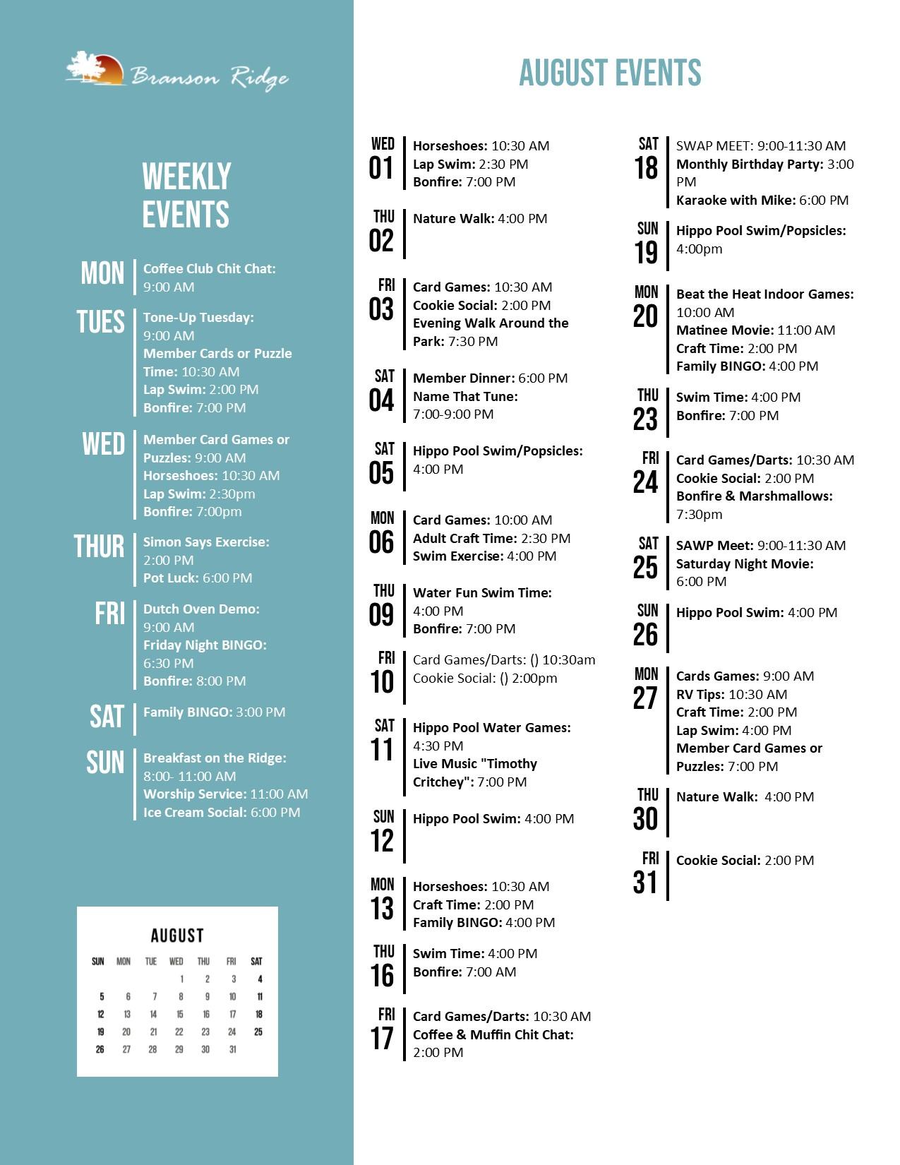 Branson Ridge Activity Calendar August 2018
