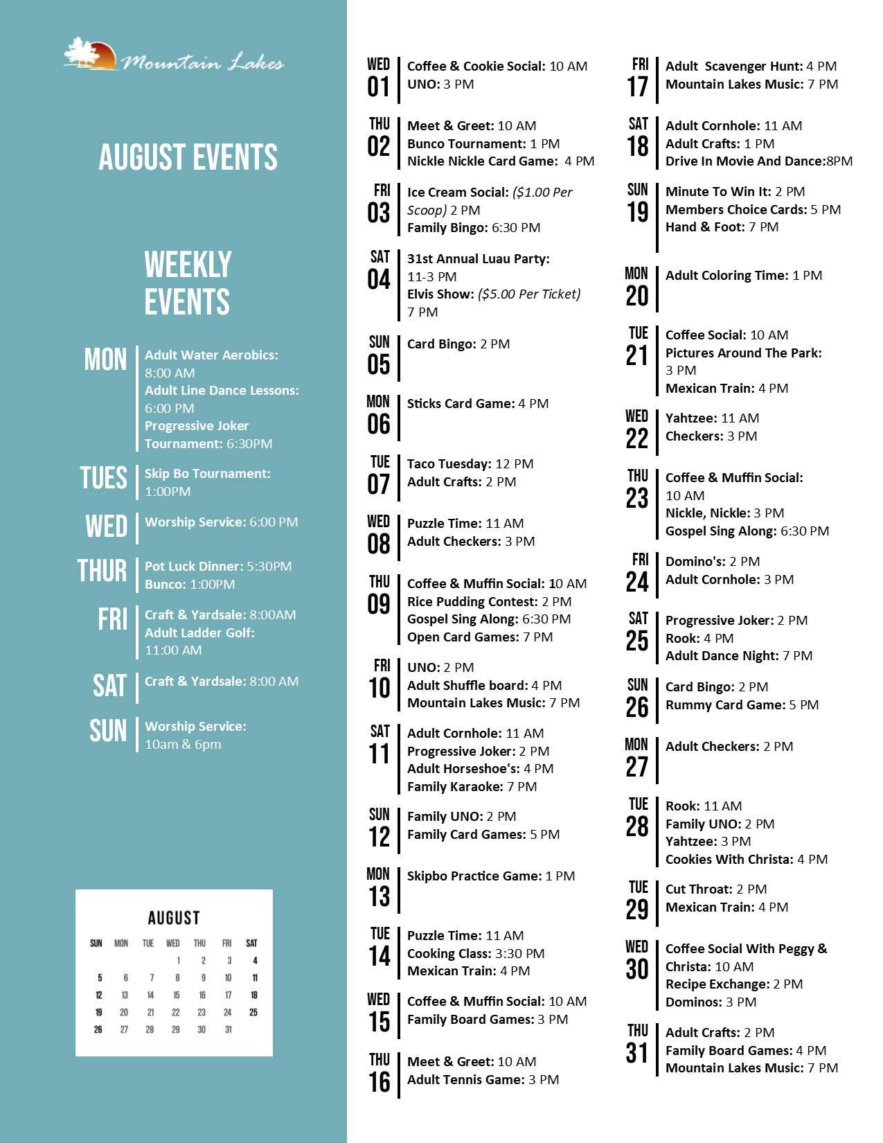 Mountain Lakes Activity Calendar August 2018