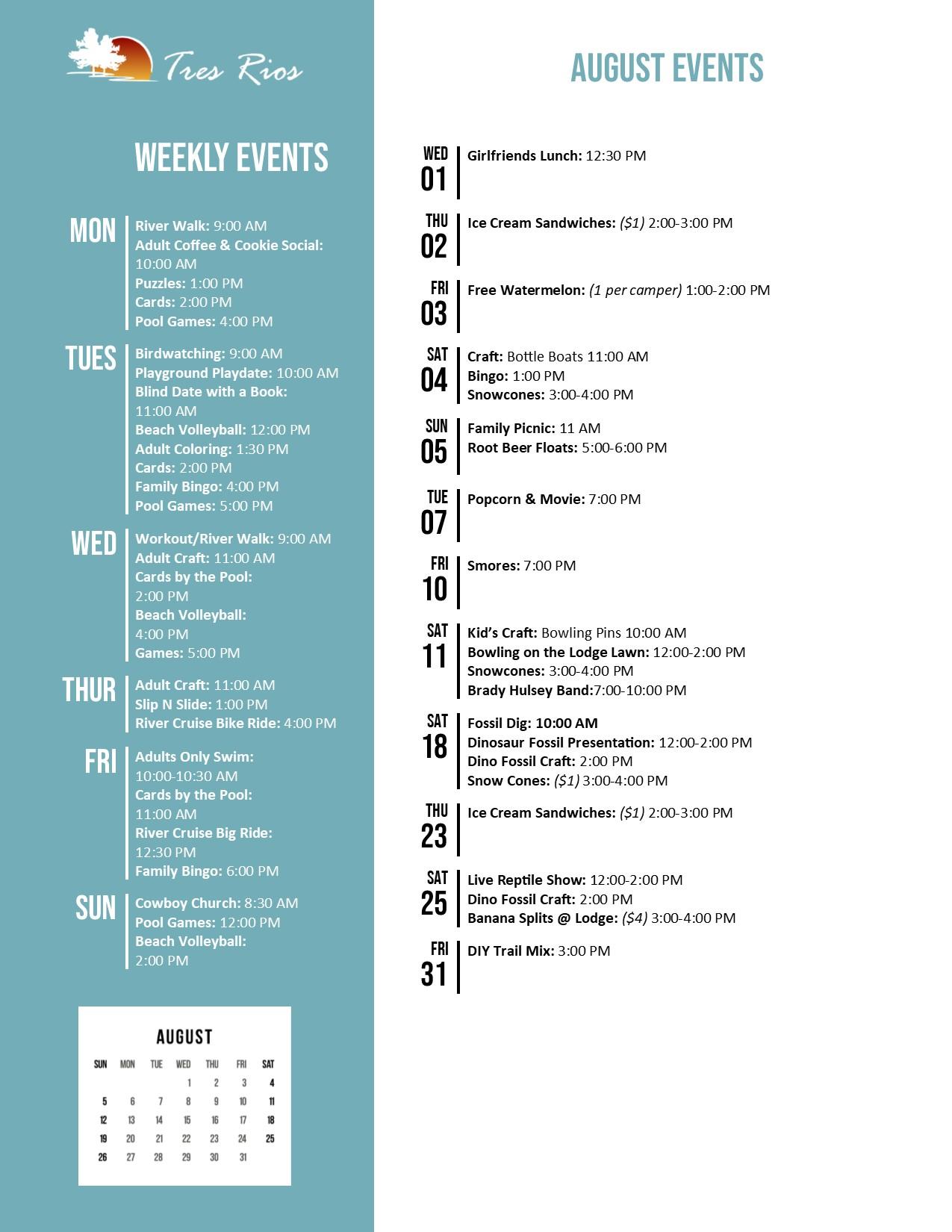 Tres Rios Activity Calendar August 2018