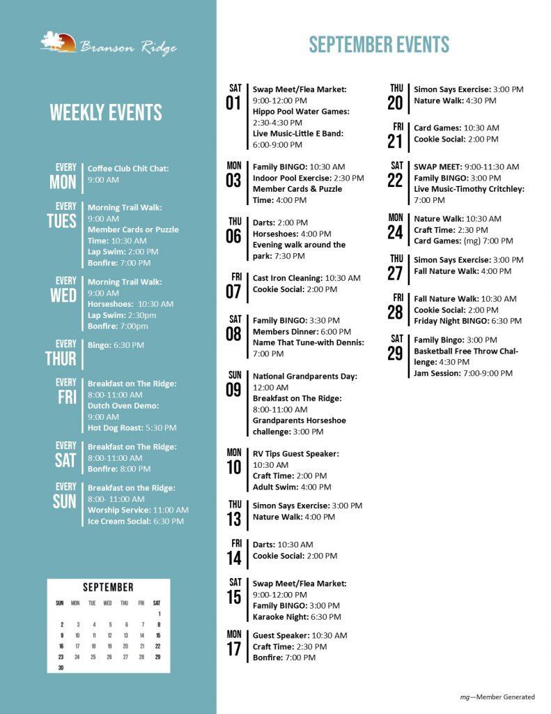Branson Ridge Activity Calendar September 2018