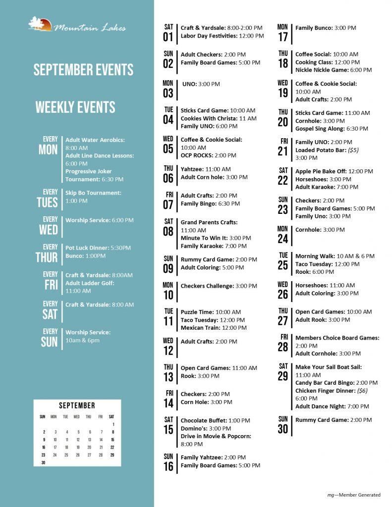 Mountain Lakes Activity Calendar September 2018