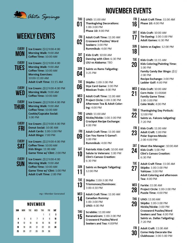 Abita Springs Activity Calendar November 2018