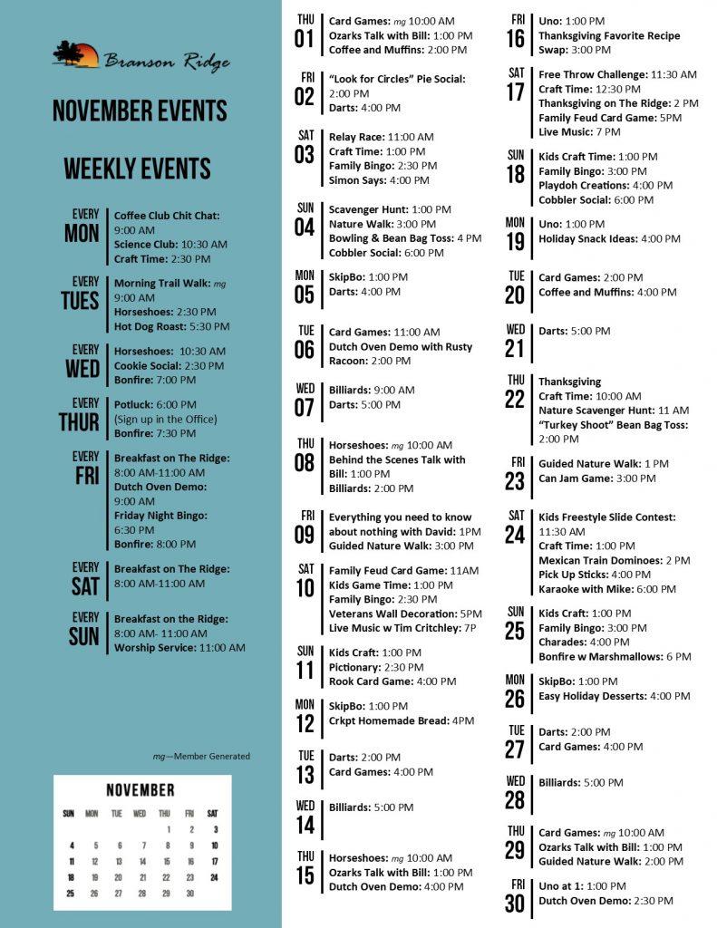 Branson Ridge Activity Calendar November 2018