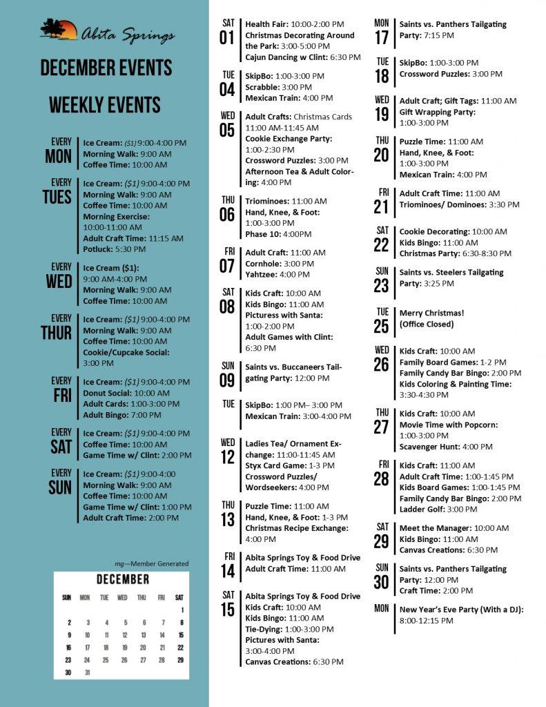 Abita Springs Activity Calendar December 2018