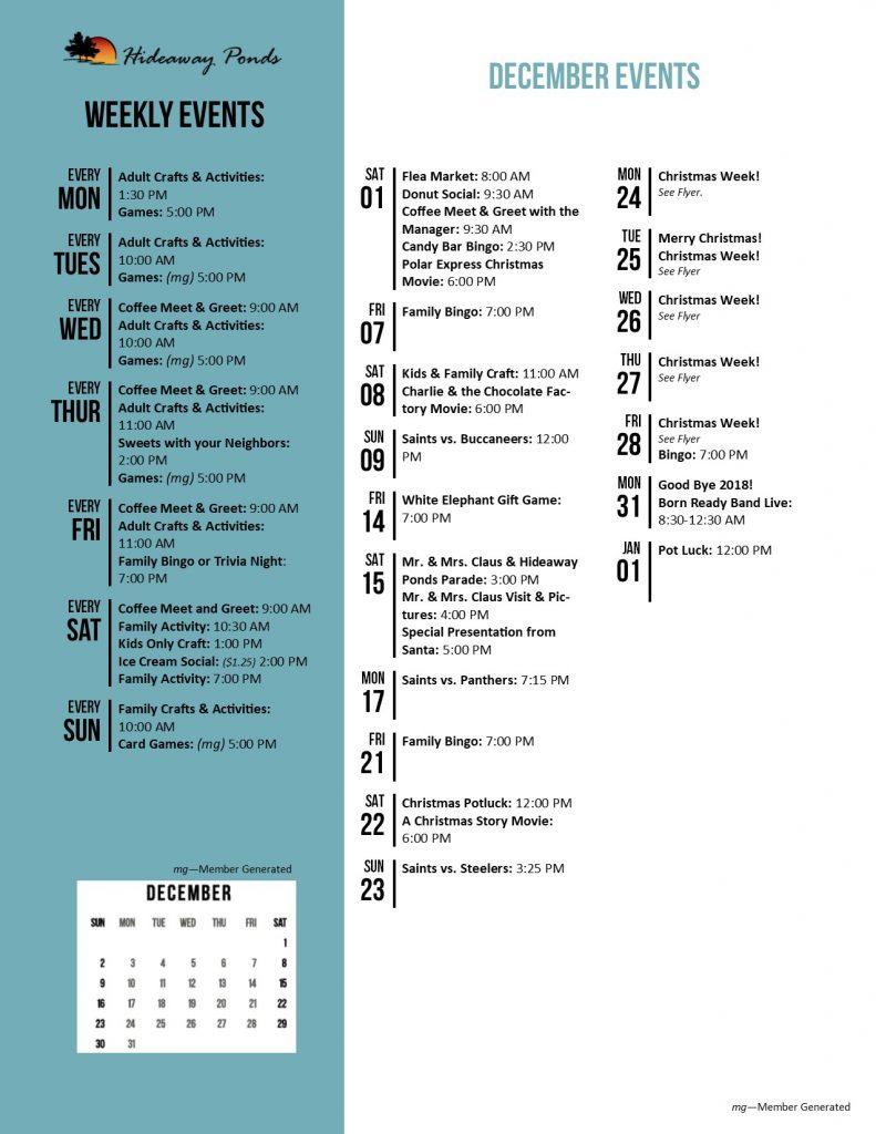Hideaway Ponds Activity Calendar December 2018