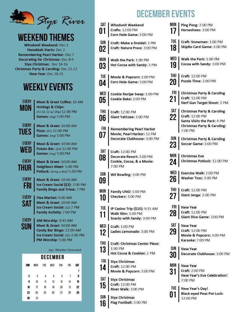 Mountain Lakes Activity Calendar December 2018