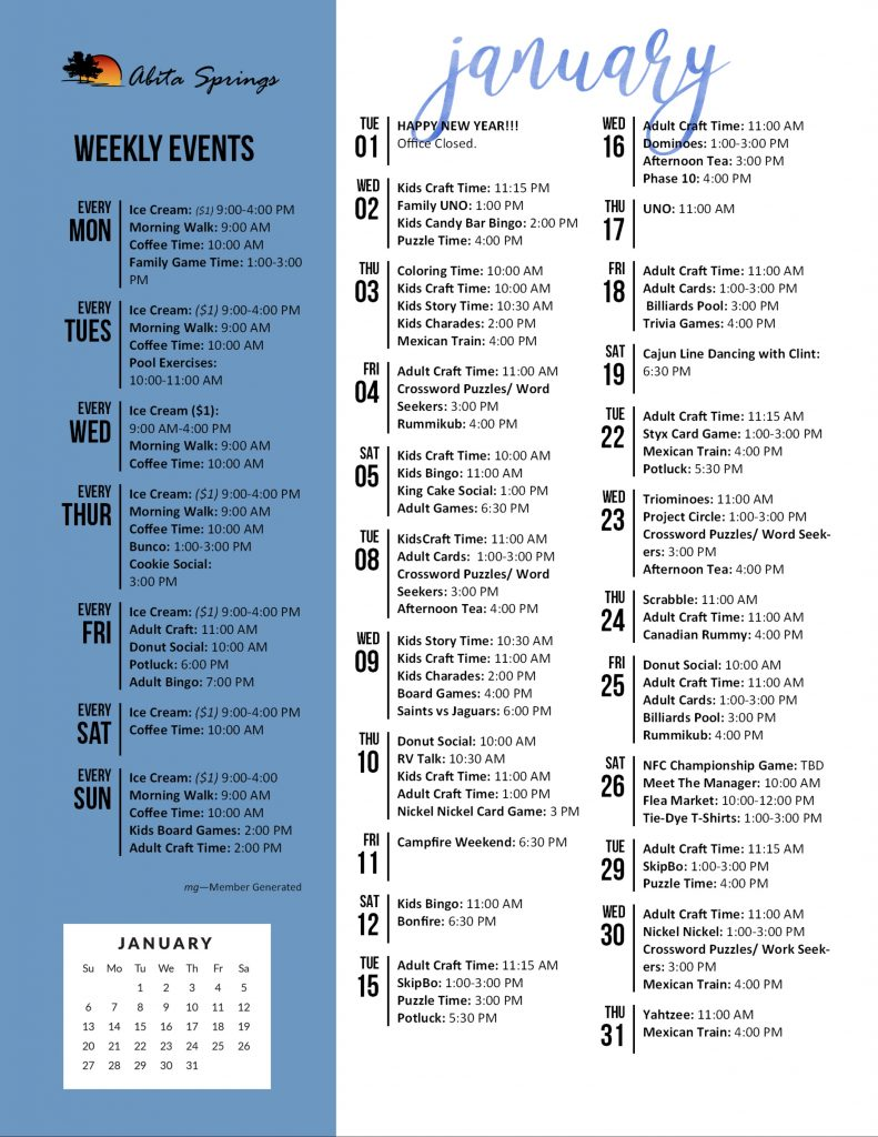 Abita Springs Activity Calendar January 2019