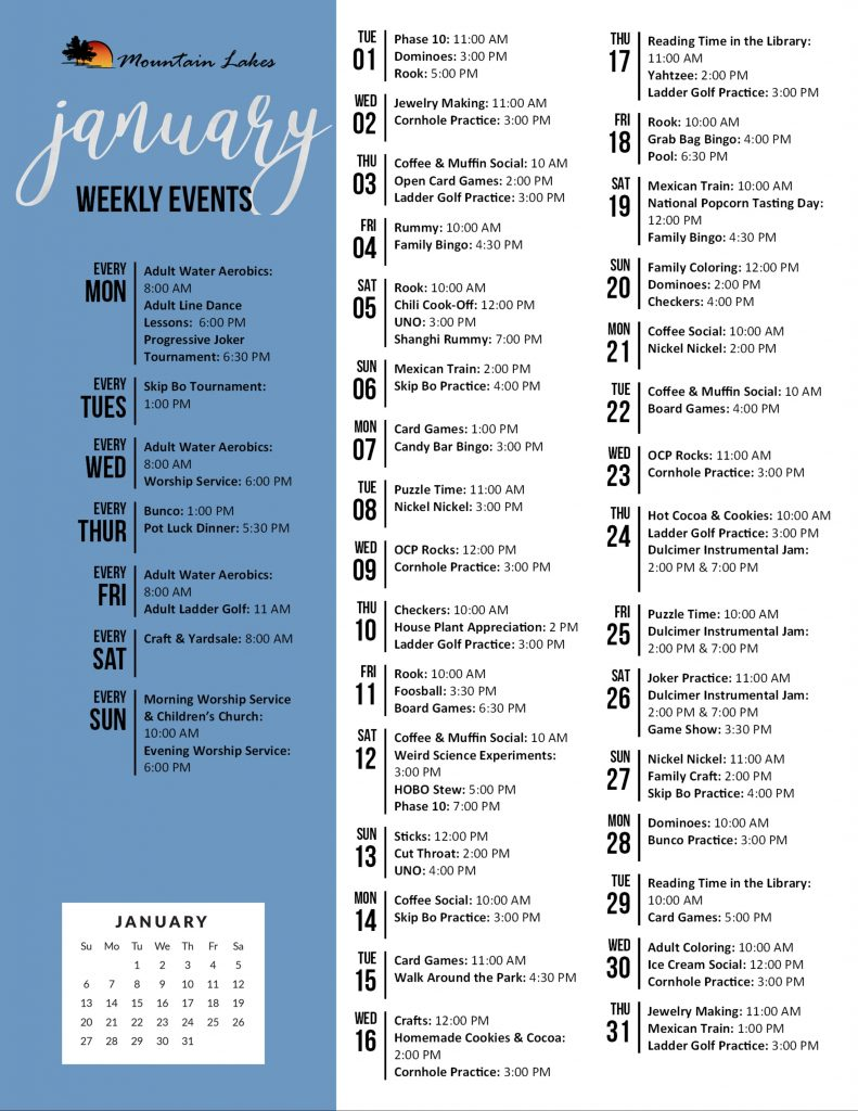 Mountain Lakes Activity Calendar January 2019