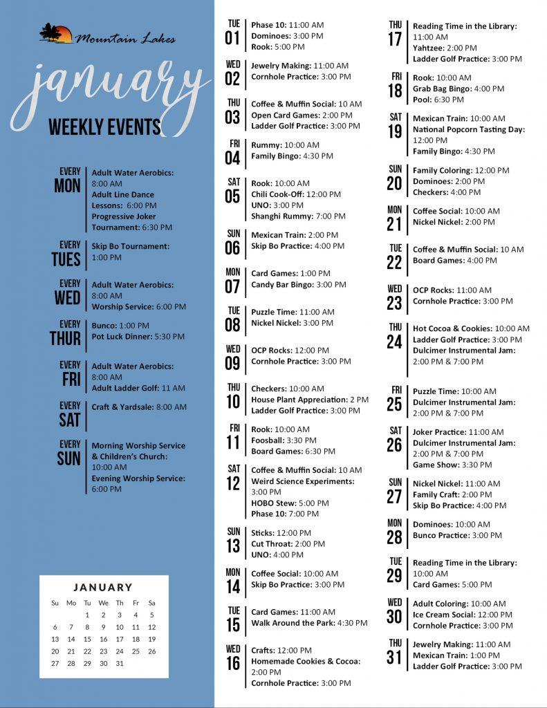 Mountain Lakes Activity Calendar January 2019