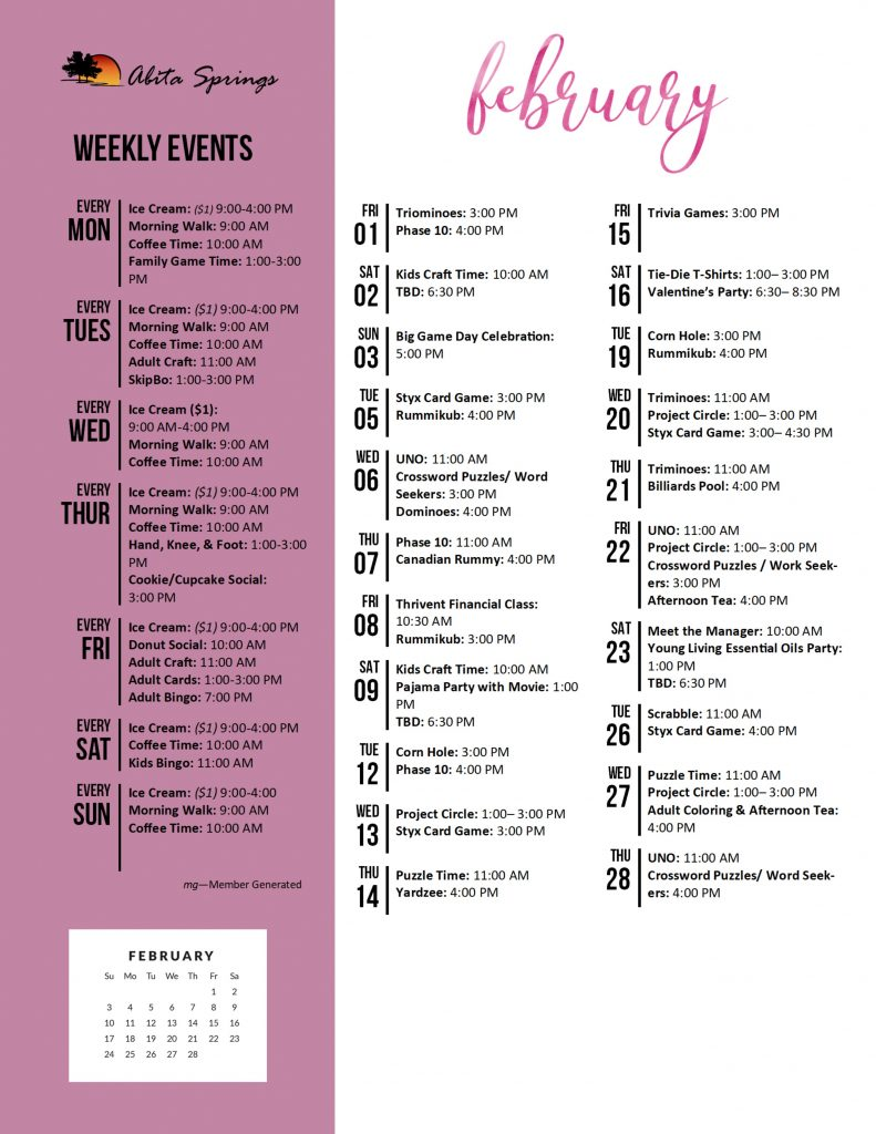 Abita Springs Activity Calendar February 2019